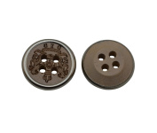 Yongshida 13mm Diameter Pattern Round Shape 4 Holes Scrapbooking Sewing Toggle Wood Buttons Pack of 50