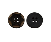 Yongshida 15mm Diameter Black Concave Round Shape 4 Holes Scrapbooking Sewing Toggle Wood Buttons Pack of 30