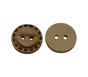 Yongshida 15mm Diameter Convex Round Shape 2 Holes Scrapbooking Sewing Toggle Wood Buttons Pack of 30