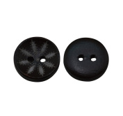 Yongshida 15mm Diameter Flower Pattern Round Shape 4 Holes Scrapbooking Sewing Toggle Wood Buttons Pack of 30