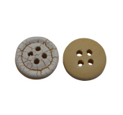 Yongshida 9mm Diameter Crack Concave Round Shape 4 Holes Scrapbooking Sewing Toggle Wood Buttons Pack of 80