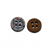 Yongshida 9mm Diameter Round Shape 4 Holes Scrapbooking Sewing Toggle Wood Buttons Pack of 50