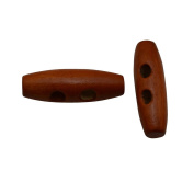 Yongshida Brown 30mm X 10mm Olive Shape 2 Holes Scrapbooking Sewing Toggle Wood Buttons Pack of 20