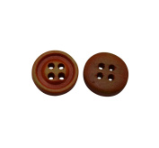 Yongshida 12mm Diameter Scarlet Round Shape 4 Holes Scrapbooking Sewing Toggle Wood Buttons Pack of 50