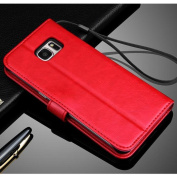 Galaxy S7 Edge Case, GOTD® [Tough Armour] Heavy Duty Extreme Protection / Rugged but Slim Protective Case for Samsung Galaxy S7 Edge (2016), Luxury Leather Card Slot Wallet Flip Case Cover - Red