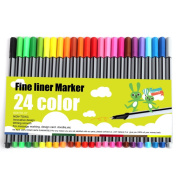 ROHTO Drawing Technical Drawing Pens ,Fineliner Pen, Fine Point Marker Pen,Metal Clad Tip. 0.4MM,Pack of 24 Assorted Colours