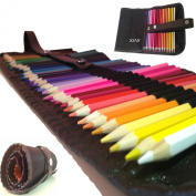 Coloured Pencils For Adults And Kids by XjaX Innovations Professional Assorted Colouring Pencils Drawing Art Supplies with Roll Up Wrap Case Washable Canvas Bag Pouch, Best For Adult Colouring Books