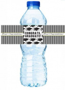 12pack Graduation Party Table Decoration WaterBottle Labels - Black