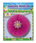 Easter Pink Hanging Paper Fan with Flower Party Decoration Pkg/12