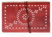 Lokalart Leather Wrap Diary Embellished With Cut Work With Handmade Paper Leather Guest Book 22cm X 14cm Regular Journal Hand Sewn