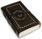 Lokalart Engraved Leather Writing Diary With Floral Cut Work 14cm X 8.9cm Regular Journal Hand Sewn