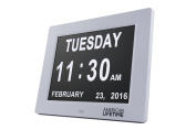 DayClock - The Original Impaired Vision Day Clock with Alarm Function, No Abbreviations and Battery Backup