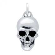 Noureda Sterling Silver Fancy Skull Charm with Charm Dimensions of 26MMx15MM