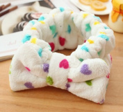 Women Fashion Cute Pink Heart Bowknot Bow Makeup Cosmetic Shower Elastic Hair Band Hairlace Headband [White Heart]