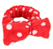 Women Fashion Cute Pink Heart Bowknot Bow Makeup Cosmetic Shower Elastic Hair Band Hairlace Headband [Red Dot]