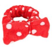 Women Fashion Cute Pink Heart Bowknot Bow Makeup Cosmetic Shower Elastic Hair Band Hairlace Headband [Red Dot]