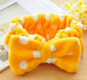 Women Fashion Cute Pink Heart Bowknot Bow Makeup Cosmetic Shower Elastic Hair Band Hairlace Headband [Yellow Dot]