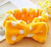 Women Fashion Cute Pink Heart Bowknot Bow Makeup Cosmetic Shower Elastic Hair Band Hairlace Headband [Yellow Dot]