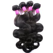 Virgin Human Hair Extensions,Queen Star hair Professional 100% Human Hair Weave Peruvian Virgin Hair Extension Weft Natural Black Top Grade 6A