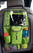 Heavy Duty Backseat Organiser Quality Car Seat Back Organiser Storage Pocket Kick Mat With Ipad Tablet & Tissue Dispenser Lime Green