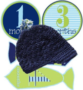 Mumsy Goose Baby Boy Monthly Stickers and Newsboy Beanie Hat Circles & Ties- 1-12 Months