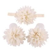 UCLL Lovely Baby Girls Foot Flower Barefoot Sandals + Headband Set Baby Infants Girl Beige