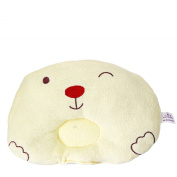 KSB 24cm 100% Soft Pure Cotton Cartoon Bear Baby Newborn Infant Toddler Sleeping Pillow , Pevent Flat Head For 3 Months- 3 Year
