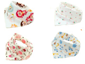 Baby Bandana Drool Bibs by Emma Bean - Soft 100% Cotton - Absorbent - Bandana Drool Bib - 4-Pack - Various Styles - Cute Baby Gift