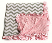 Baby Minky Receiving Blanket - 80cm x 80cm - Cotton Polyester - Grey and Pink Chevron