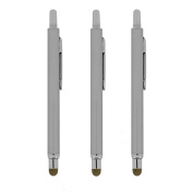 Precision Touch(TM) Retractor Pro Stylus Touch Pen for Apple iPad 2/3/4/Air/Mini, iPhone 4/5/6/6 Plus, Galaxy S3/S4/S5/S6, Galaxy Tab, Kindle Fire, Google Nexus HTC (Silver)
