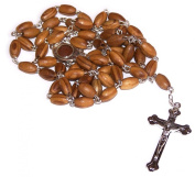 Holy Land Market Olive Wood Rosary with Soil from Bethlehem - with certificate and velvet bag