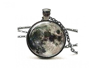 SmallDragon Full Moon Necklace Space Picture Pendant Galaxy