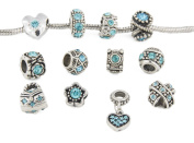 Yeshan 12pcs Antique Silver Crystal Rhinestone Birthstone Bead Charm Spacer with a Snake Chain Charm Bracelet Free,fits Pandora Charm Bracelet,light Blue