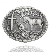 Q & Q Fashion Men Retro Silver Western Cowboy Prayer Cross Horse Oval Concho Scroll Belt Buckle