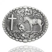 Q & Q Fashion Men Retro Silver Western Cowboy Prayer Cross Horse Oval Concho Scroll Belt Buckle