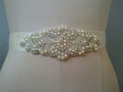 TRLYC Ivory Clear Rhinestone Bridal Dress Applique Wedding Trim Bridal Stunning Sash Belt