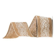 6.4cm Natural Burlap Ribbon with Lace & Pearls