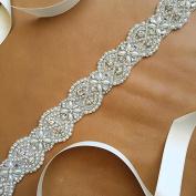 QueenDream Bridal Beaded Sash,Wedding Belt Sash,Rhinestone Sash,Beaded Sash- Ivory Sastin Sash