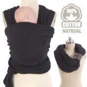 Allis Baby Sling Stretchy Wrap Carrier from Birth Breastfeeding with Leather Cuff, Black