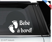 "Car Sticker, White, ""Bébé à bord!"" (French Language)Baby Footprint Sticker 10 x 20 cm"