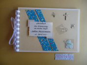 Guest Book - A5- Blue Naming Ceremony, Baptism, Christening Guest Book/Photo Album/Keepsake Album, Parents, Baby, Godmother, Godfather, Handmade - Very Elegant and beautifully