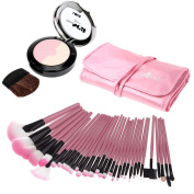 PremierCor(TM) 32Pcs Wood Makeup Brushes Kit Professional Cosmetic Make Up Set & Pouch Bag + UBUB Face Blusher Powder with Mirror