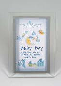 Lovely Glass Nursery Plaque decorated with a Baby Mobile and Gifts with the words A gift from above, to hold, to cherish and to love