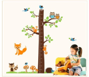 "OneHouse Tree Height Chart (0"" - 170cm ) with Birds Fox Owl and Squirrel Wall Sticker Kids Room Decor"