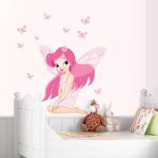 PremierCor(TM) DIY Home Decoration Lovely Beautiful Little Elfin Pink Removable Wall Stickers Art Decals Mural Wallpaper for Kid's Room Decal