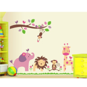 PremierCor(TM) DIY Kid's Child Room Decor Decal Cartoon Lovely Animal Lion Monkey Giraffe Elephant Zoo Removable Wall Sticke Stickers Wallpaper