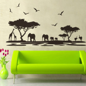 PremierCor(TM) Removable Wall Sticker African Animals DIY Wallpaper Art Decals Mural for Room Decal 60 * 90cm Home Decoration