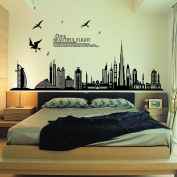 PremierCor(TM) Removable Wall Sticker City Silhouette Buildings Art Decals Mural DIY Wallpaper for Room Decal 60 * 90cm Home Decoration