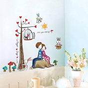 PremierCor(TM) Romantic Lovers Tree Wall Stickers Decor Decal Rooms Decals Adesivo De Parede Sticker 2014 Removable DIY Home Decoration