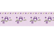 Non-woven wallpaper border Self Adhesive Bedroom Wall Tattoo Happy Owl Purple